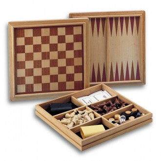 Caja Ajedrez Damas Backgammon Juego De Mesa Zacatrus